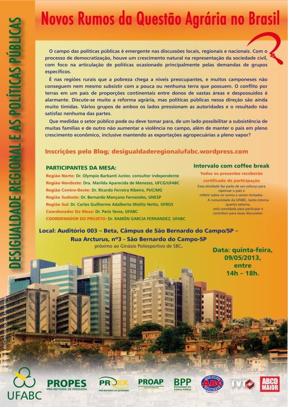 Cartaz questão agrária 09.05.2013 internet